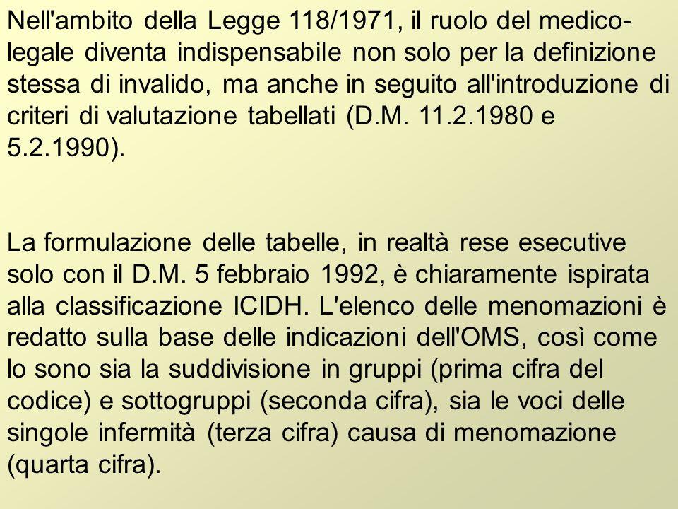 Nell ambito della Legge 118/1971, il ruolo del medico-legale diventa indispensabile non solo per la definizione stessa di invalido, ma anche in seguito all introduzione di criteri di valutazione tabellati (D.M. 11.2.1980 e 5.2.1990).