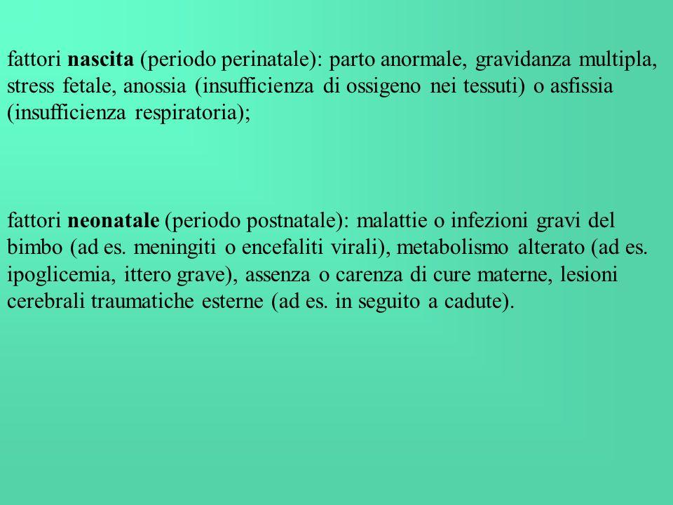 fattori nascita (periodo perinatale): parto anormale, gravidanza multipla, stress fetale, anossia (insufficienza di ossigeno nei tessuti) o asfissia (insufficienza respiratoria);