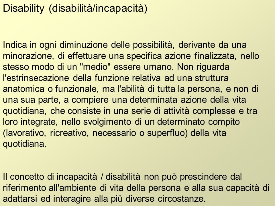Disability (disabilità/incapacità)