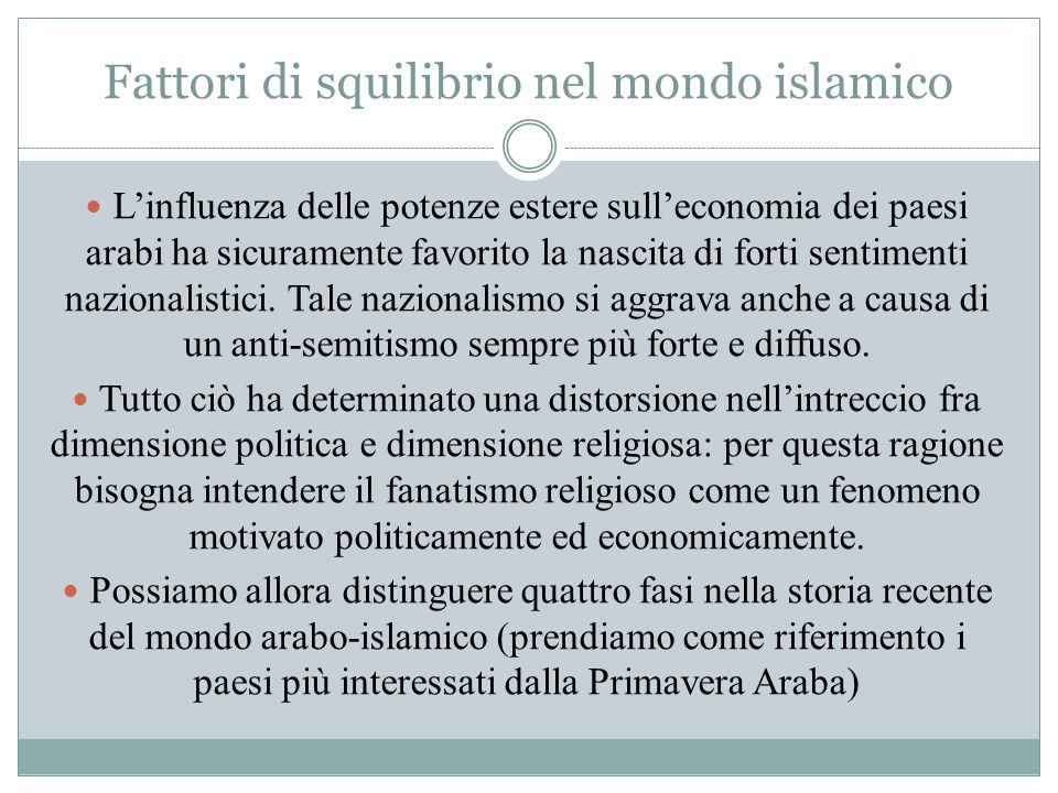 Fattori di squilibrio nel mondo islamico