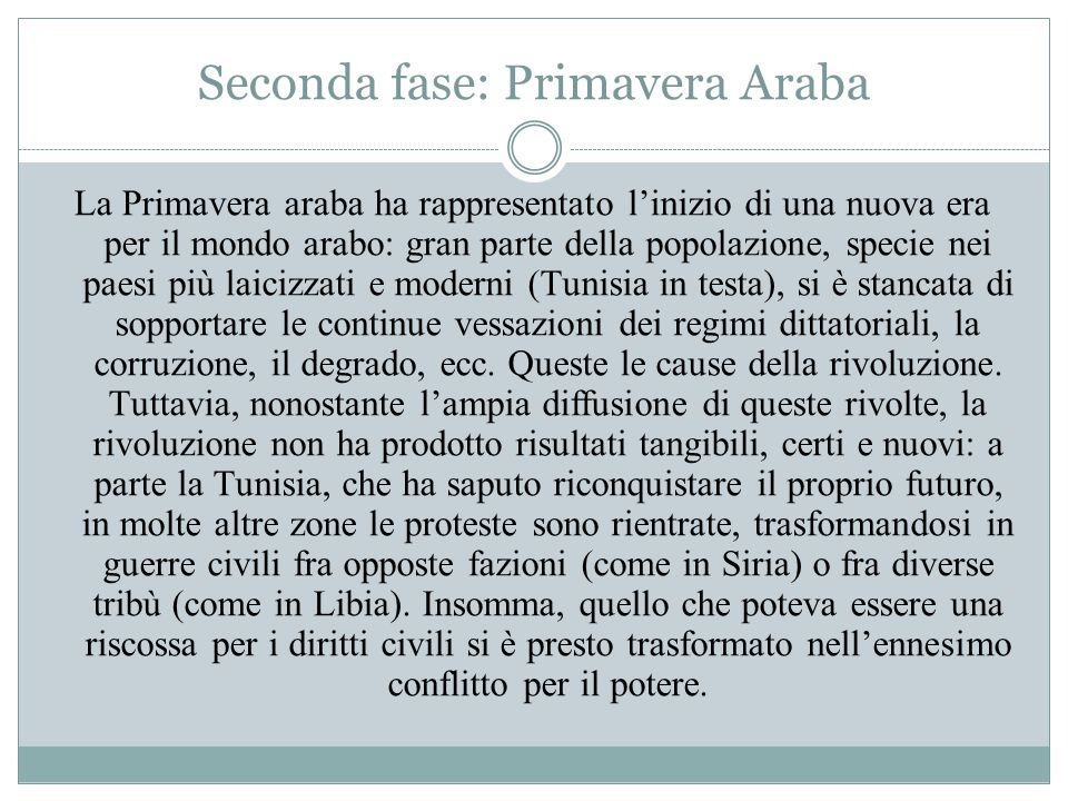 Seconda fase: Primavera Araba