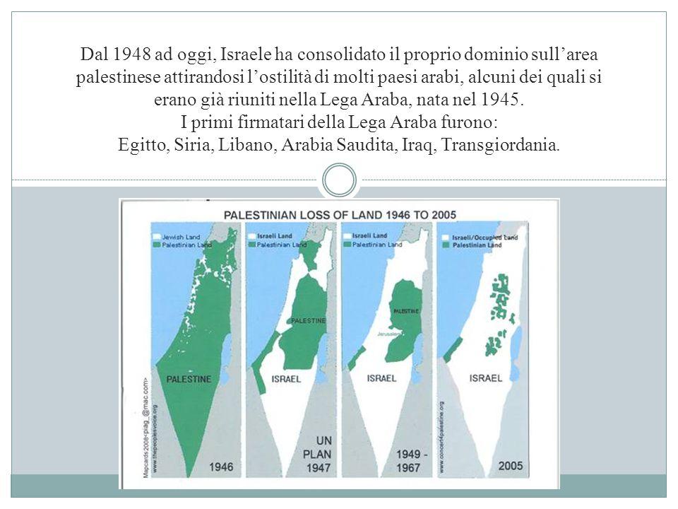 Dal 1948 ad oggi, Israele ha consolidato il proprio dominio sull'area palestinese attirandosi l'ostilità di molti paesi arabi, alcuni dei quali si erano già riuniti nella Lega Araba, nata nel 1945.