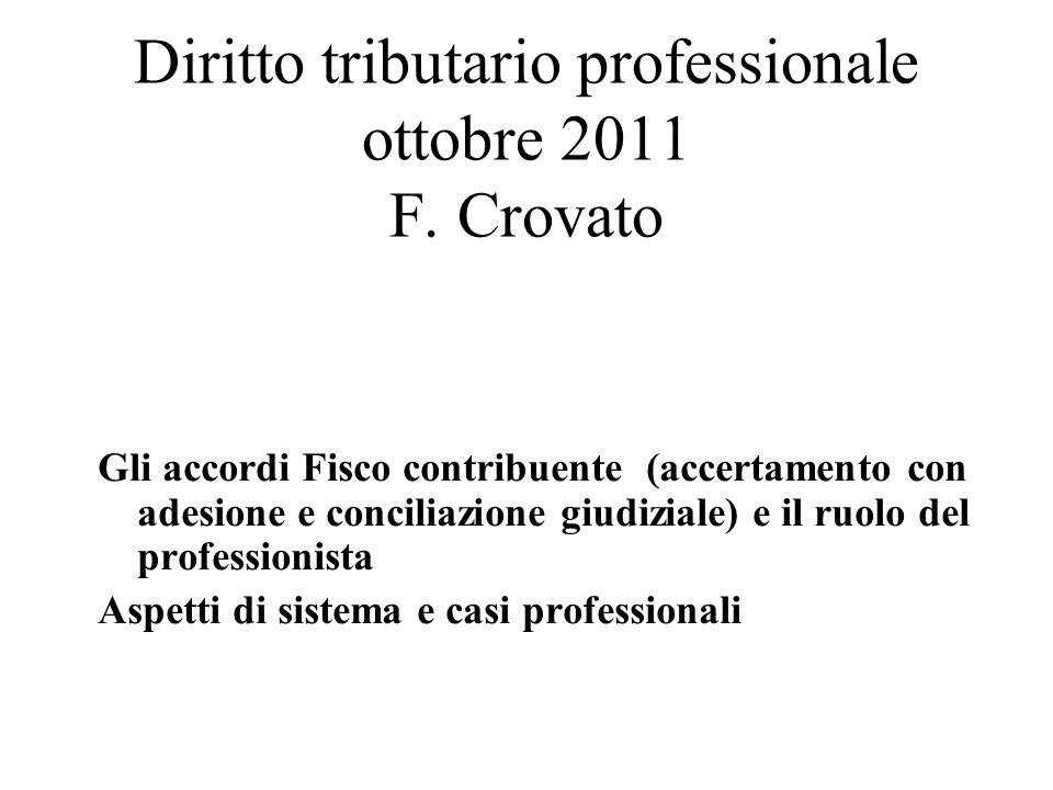 Diritto tributario professionale ottobre 2011 F. Crovato
