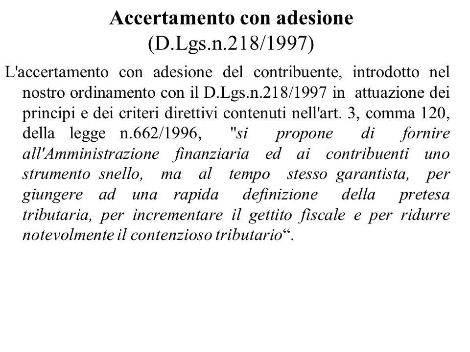 Accertamento con adesione (D.Lgs.n.218/1997)