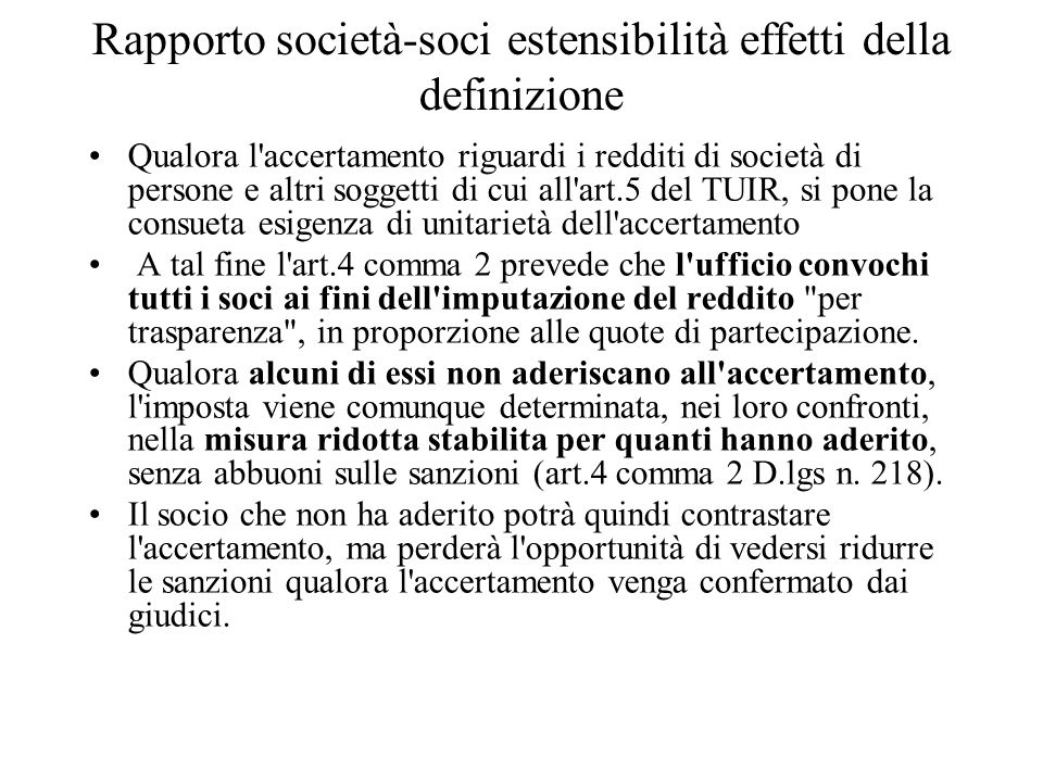 Rapporto società-soci estensibilità effetti della definizione
