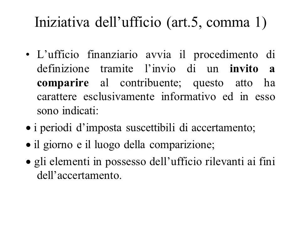 Iniziativa dell'ufficio (art.5, comma 1)