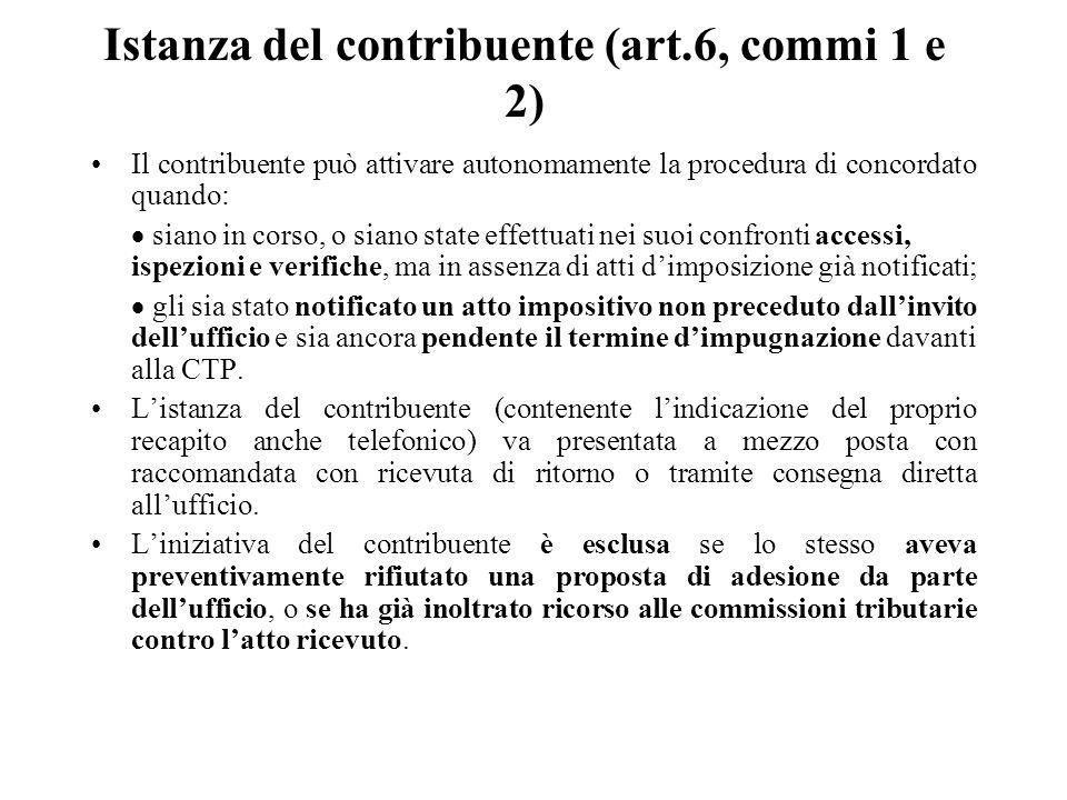 Istanza del contribuente (art.6, commi 1 e 2)