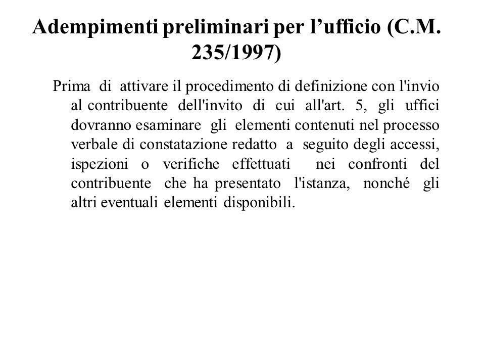 Adempimenti preliminari per l'ufficio (C.M. 235/1997)