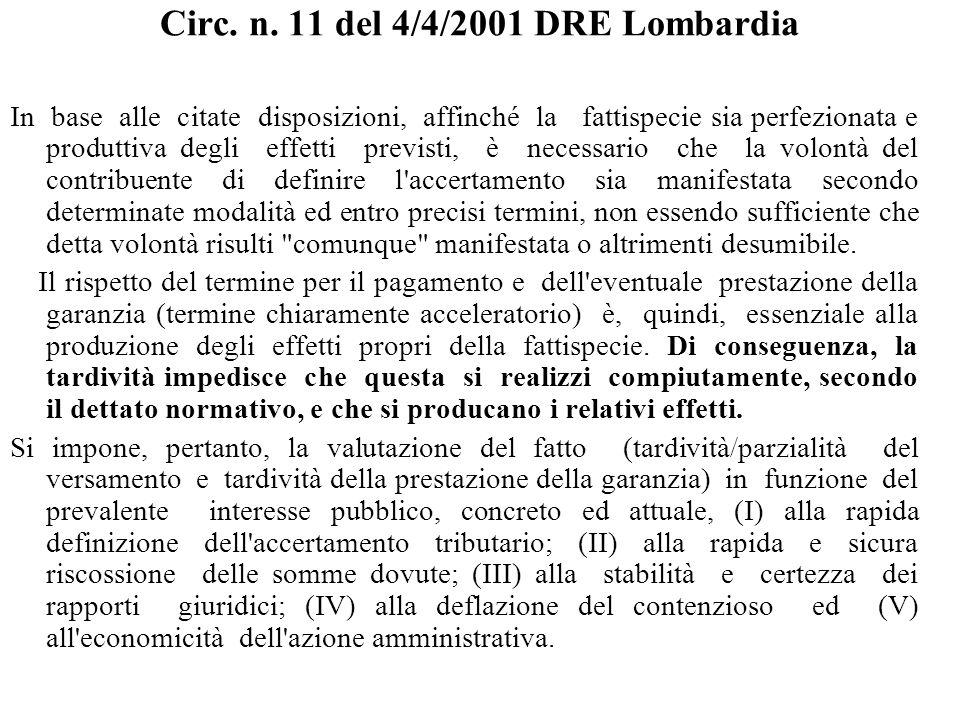 Circ. n. 11 del 4/4/2001 DRE Lombardia