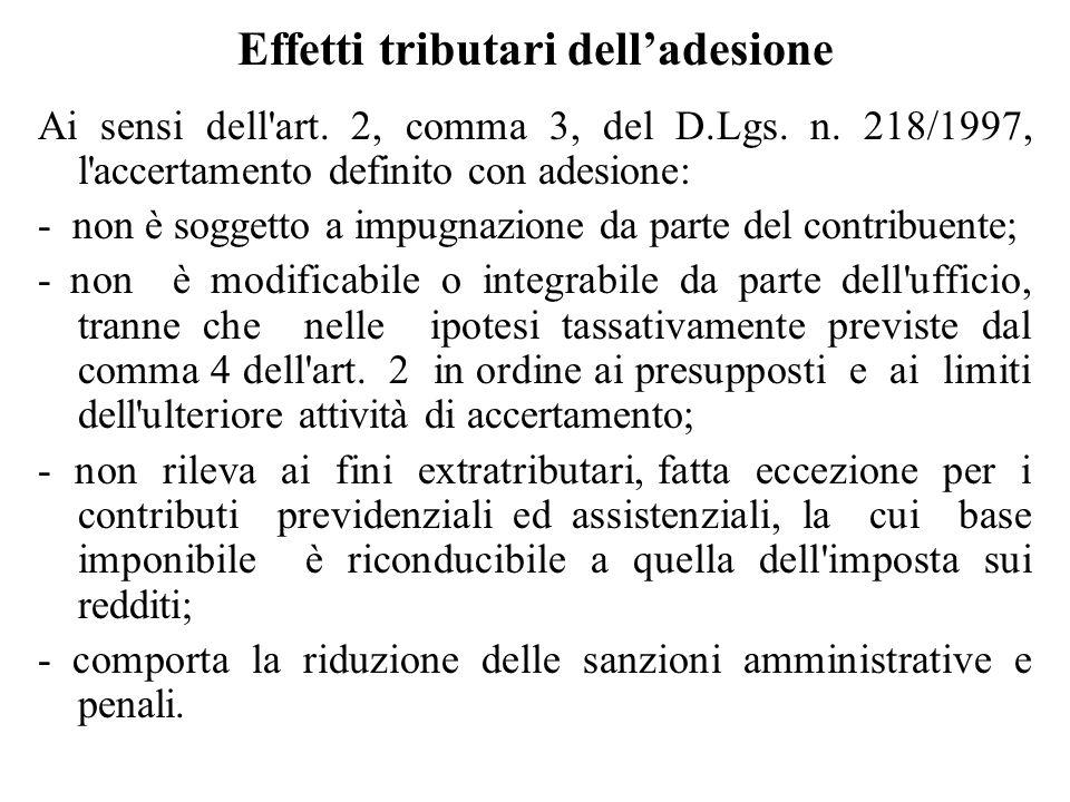 Effetti tributari dell'adesione