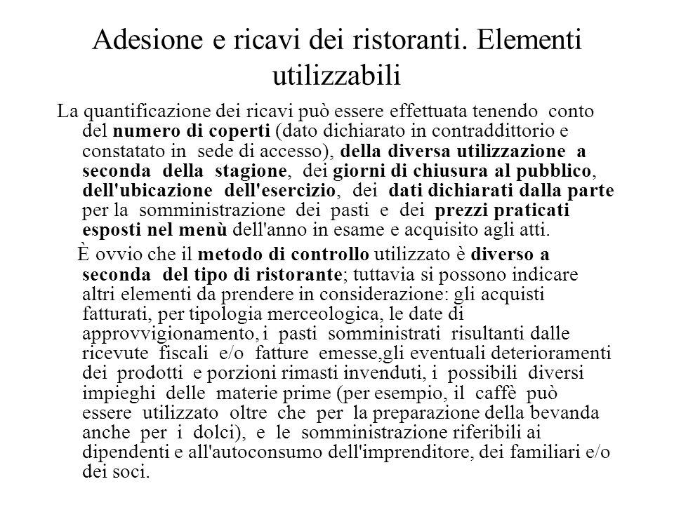 Adesione e ricavi dei ristoranti. Elementi utilizzabili
