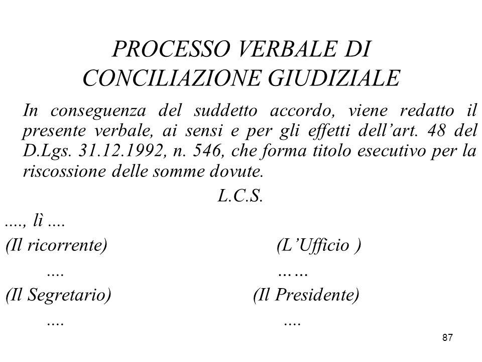 PROCESSO VERBALE DI CONCILIAZIONE GIUDIZIALE