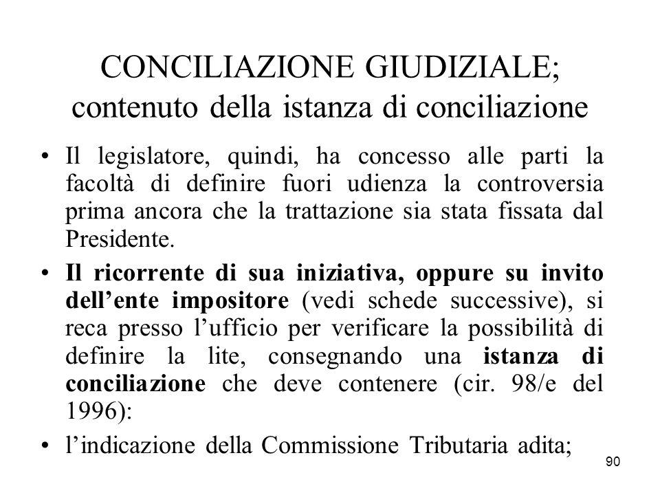 CONCILIAZIONE GIUDIZIALE; contenuto della istanza di conciliazione