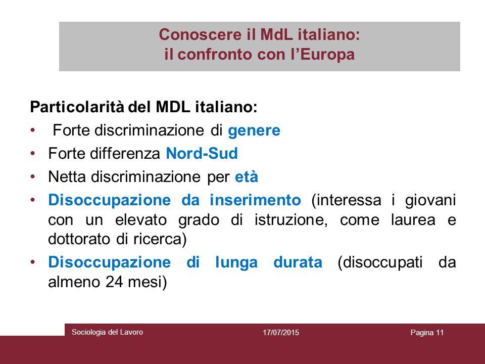 Conoscere il MdL italiano: il confronto con l'Europa