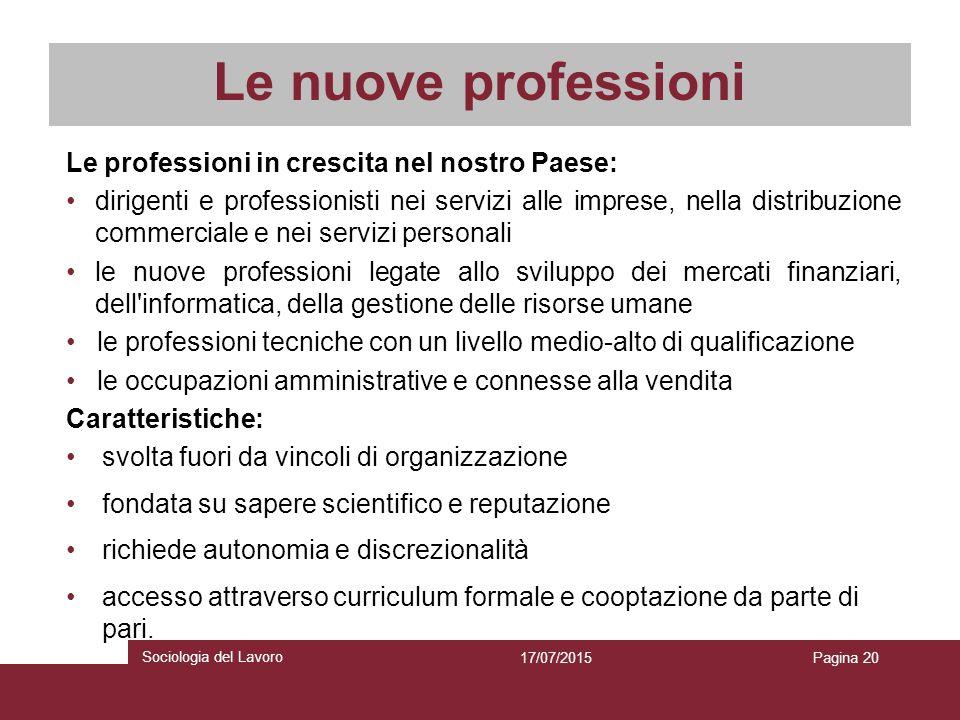 Le nuove professioni Le professioni in crescita nel nostro Paese: