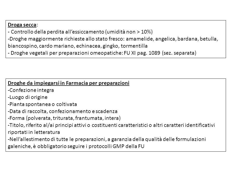 Droga secca: - Controllo della perdita all'essiccamento (umidità non > 10%)