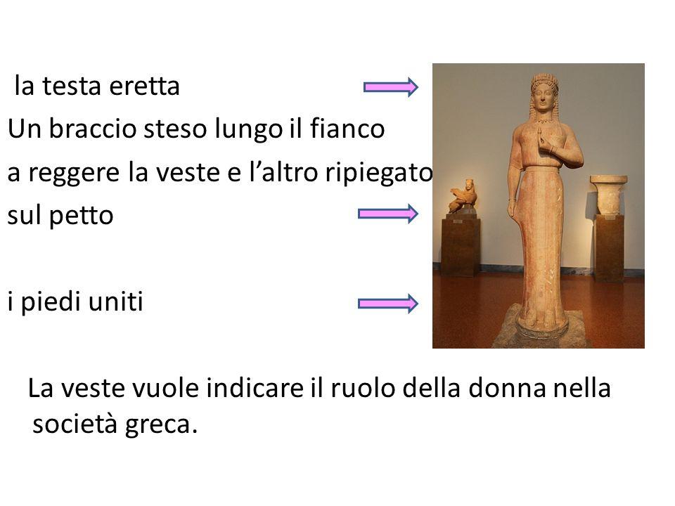 la testa eretta Un braccio steso lungo il fianco a reggere la veste e l'altro ripiegato sul petto i piedi uniti La veste vuole indicare il ruolo della donna nella società greca.