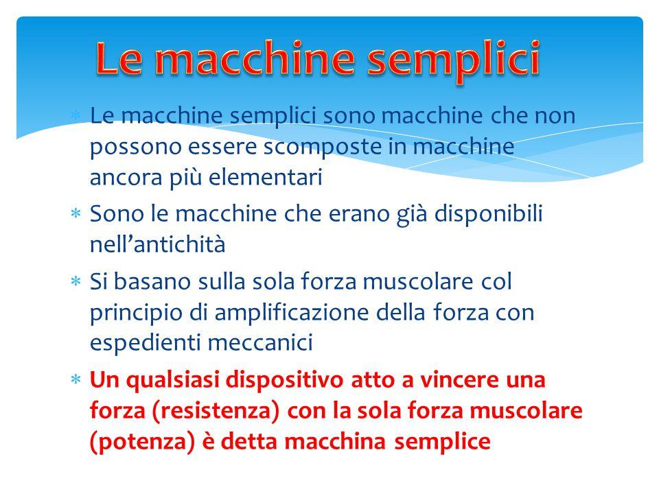 Le macchine semplici Le macchine semplici sono macchine che non possono essere scomposte in macchine ancora più elementari.