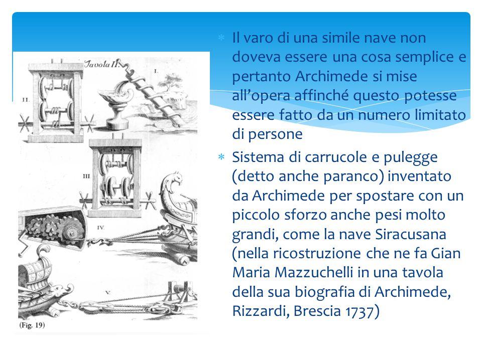 Il varo di una simile nave non doveva essere una cosa semplice e pertanto Archimede si mise all'opera affinché questo potesse essere fatto da un numero limitato di persone