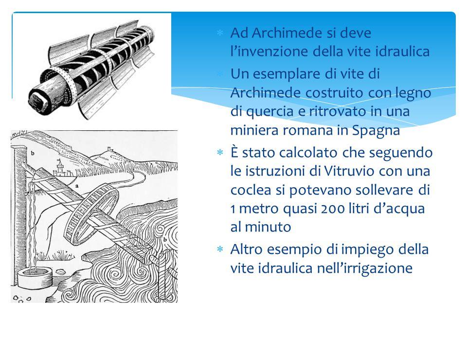 Ad Archimede si deve l'invenzione della vite idraulica