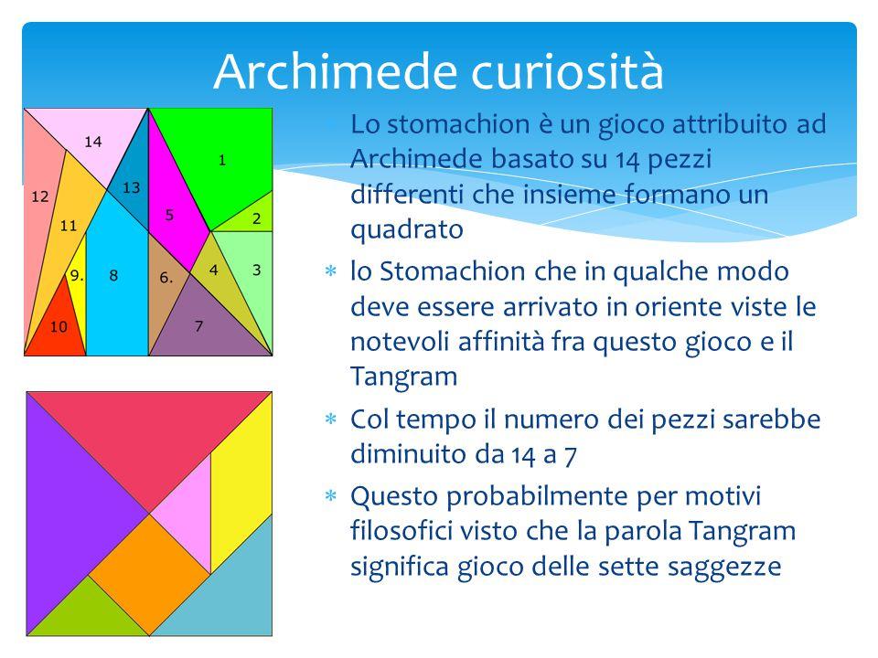 Archimede curiosità Lo stomachion è un gioco attribuito ad Archimede basato su 14 pezzi differenti che insieme formano un quadrato.