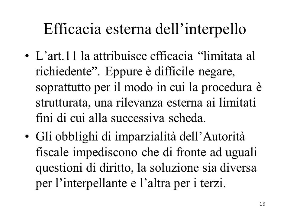 Efficacia esterna dell'interpello