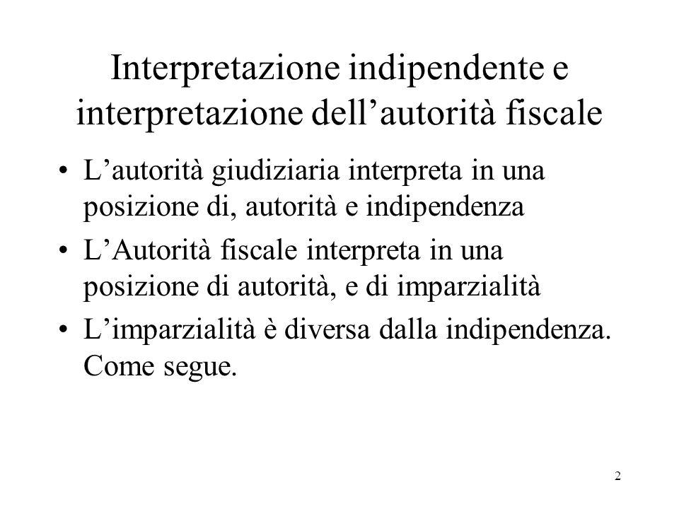 Interpretazione indipendente e interpretazione dell'autorità fiscale