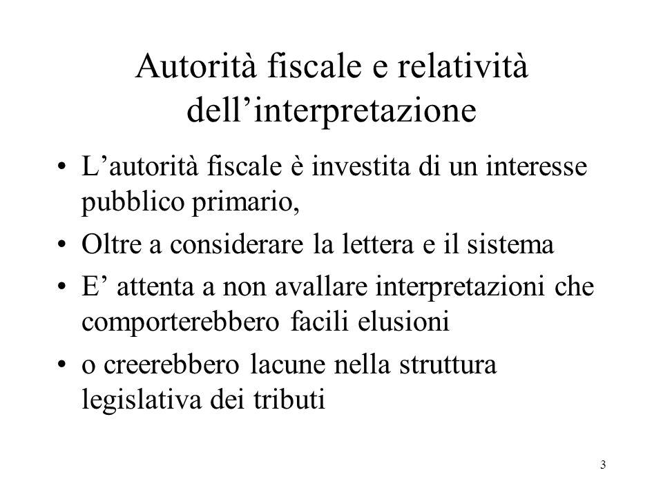 Autorità fiscale e relatività dell'interpretazione