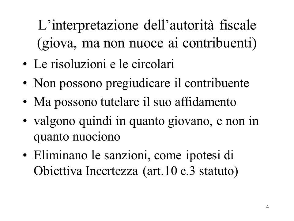 L'interpretazione dell'autorità fiscale (giova, ma non nuoce ai contribuenti)