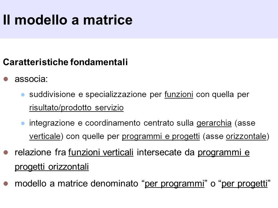 Il modello a matrice Caratteristiche fondamentali associa: