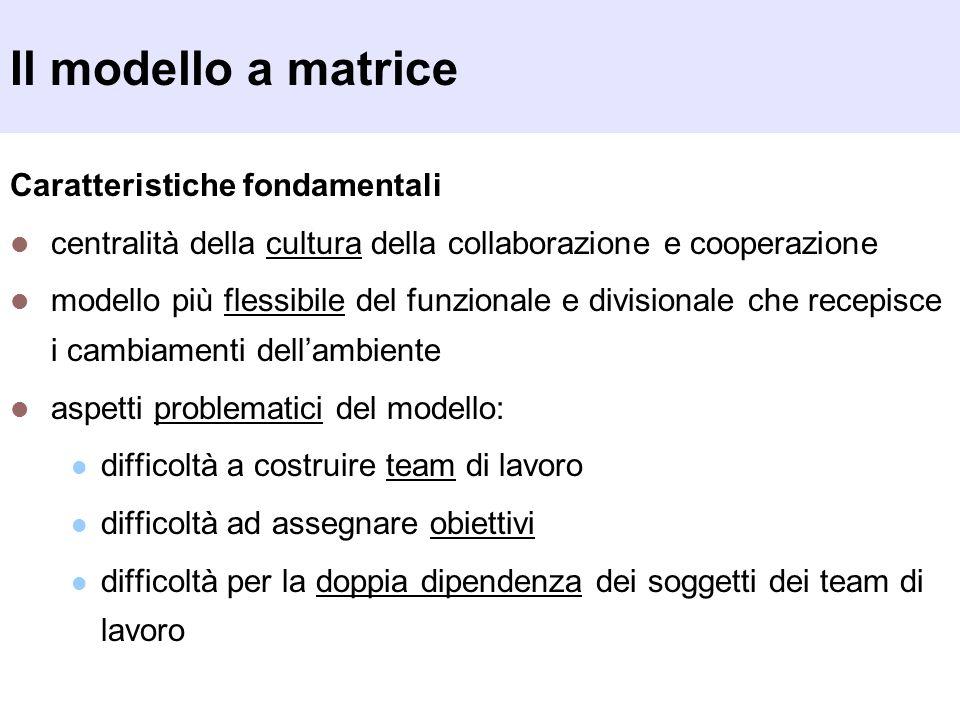 Il modello a matrice Caratteristiche fondamentali