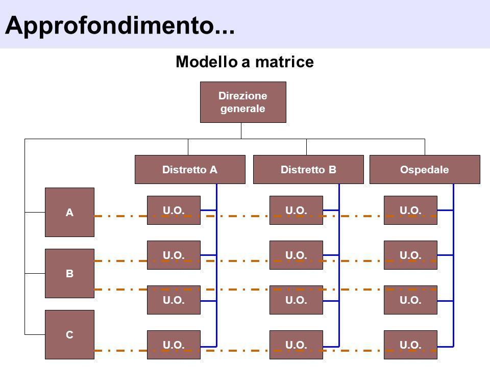 Approfondimento... Modello a matrice Direzione generale Distretto A