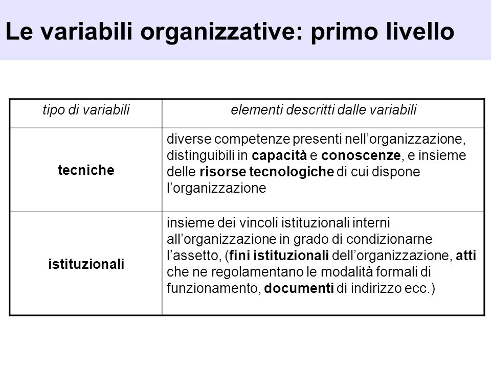 Le variabili organizzative: primo livello