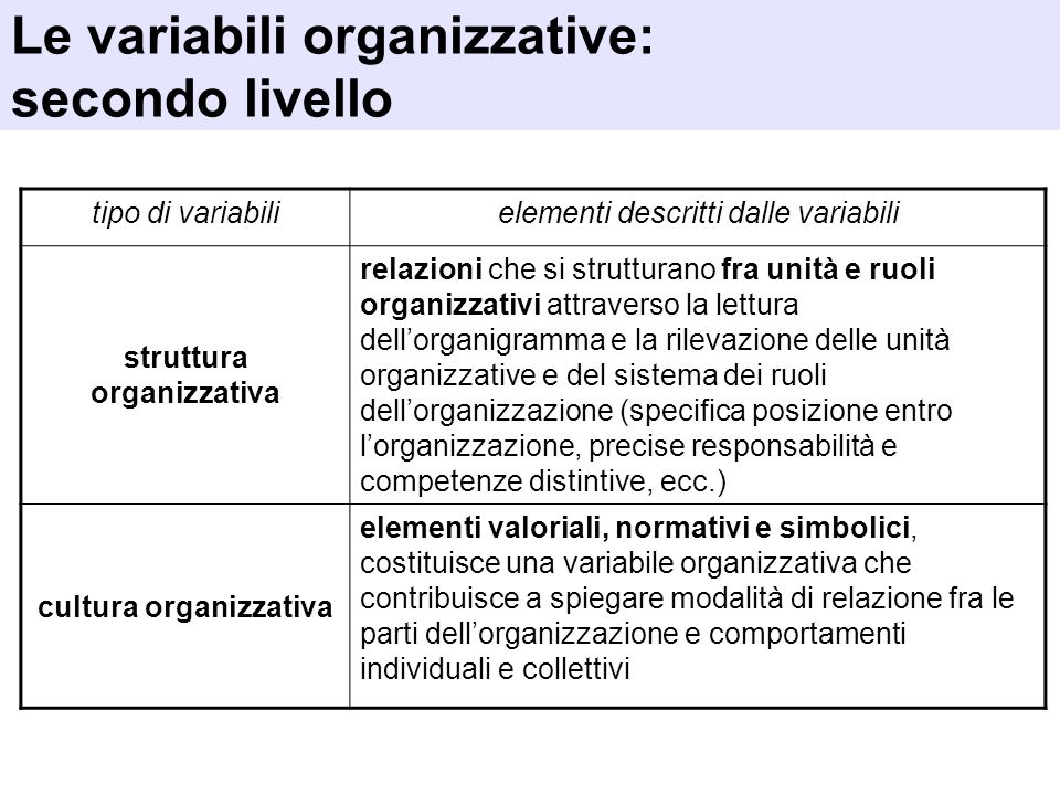 Le variabili organizzative: secondo livello