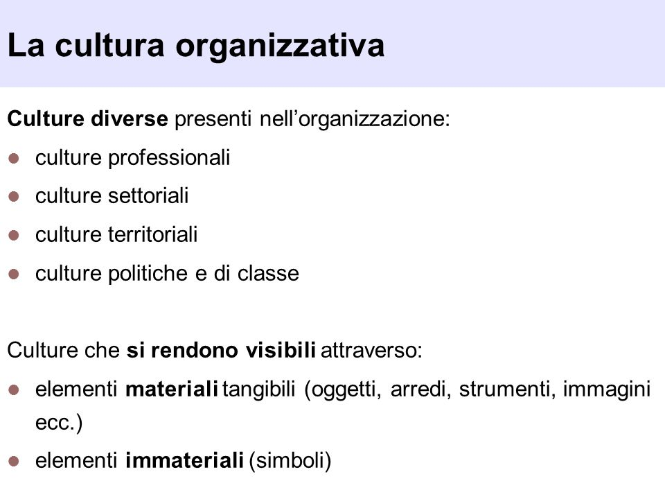 La cultura organizzativa