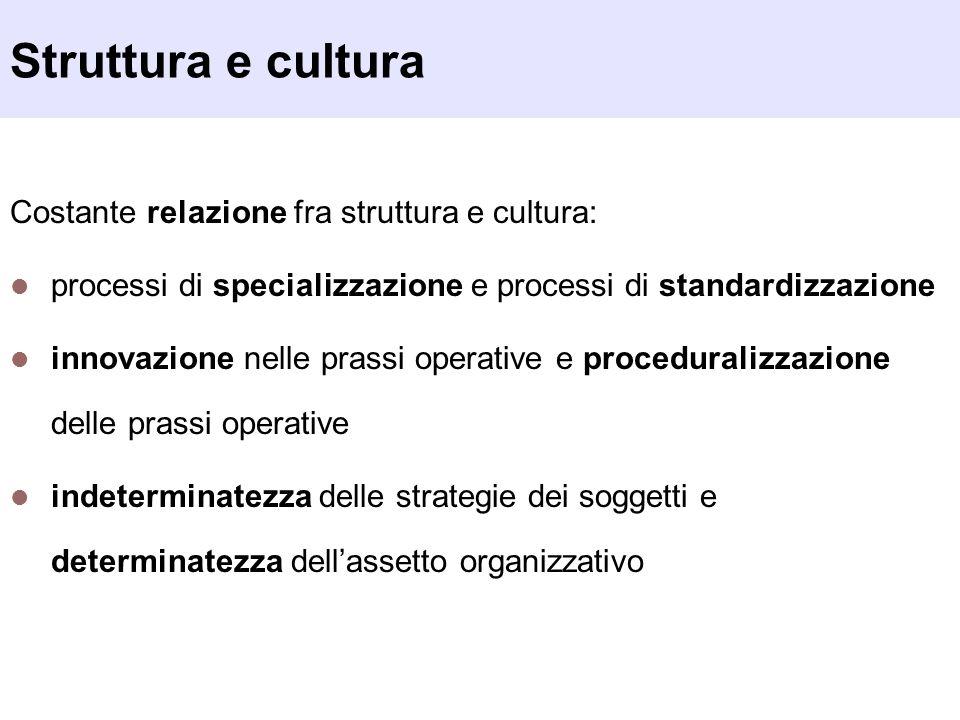Struttura e cultura Costante relazione fra struttura e cultura:
