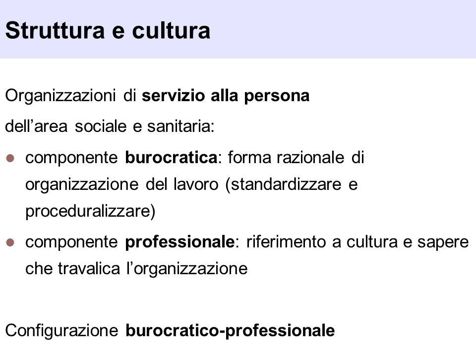 Struttura e cultura Organizzazioni di servizio alla persona