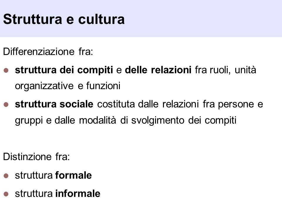 Struttura e cultura Differenziazione fra: