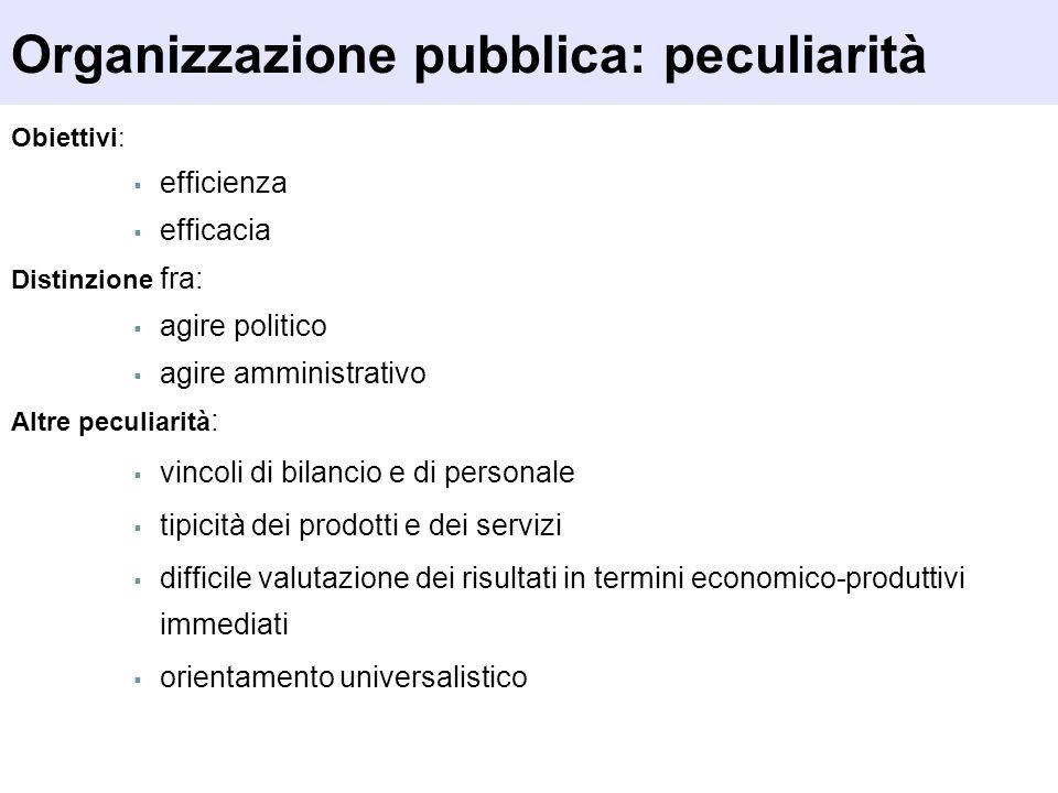 Organizzazione pubblica: peculiarità