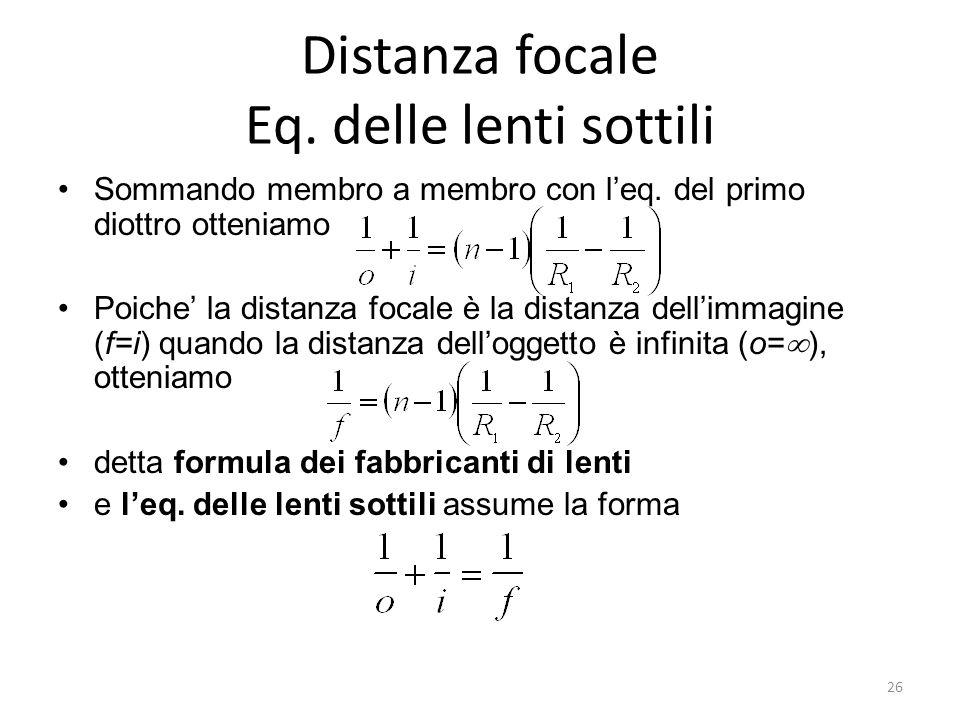 Distanza focale Eq. delle lenti sottili
