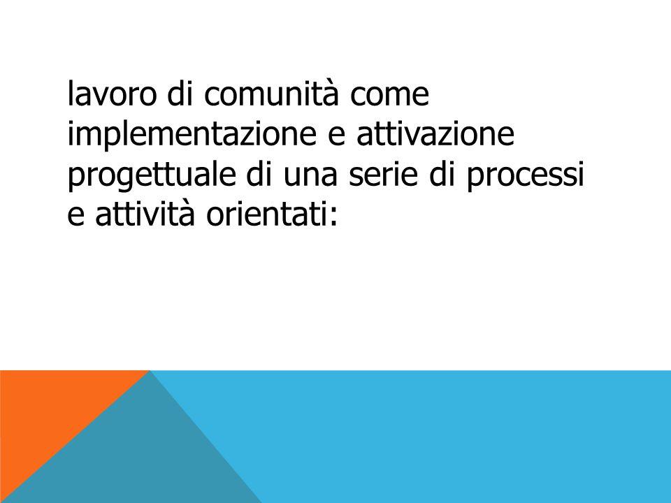 lavoro di comunità come implementazione e attivazione progettuale di una serie di processi e attività orientati:
