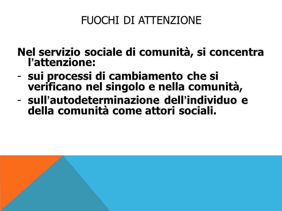 FUOCHI DI ATTENZIONE Nel servizio sociale di comunità, si concentra l'attenzione: