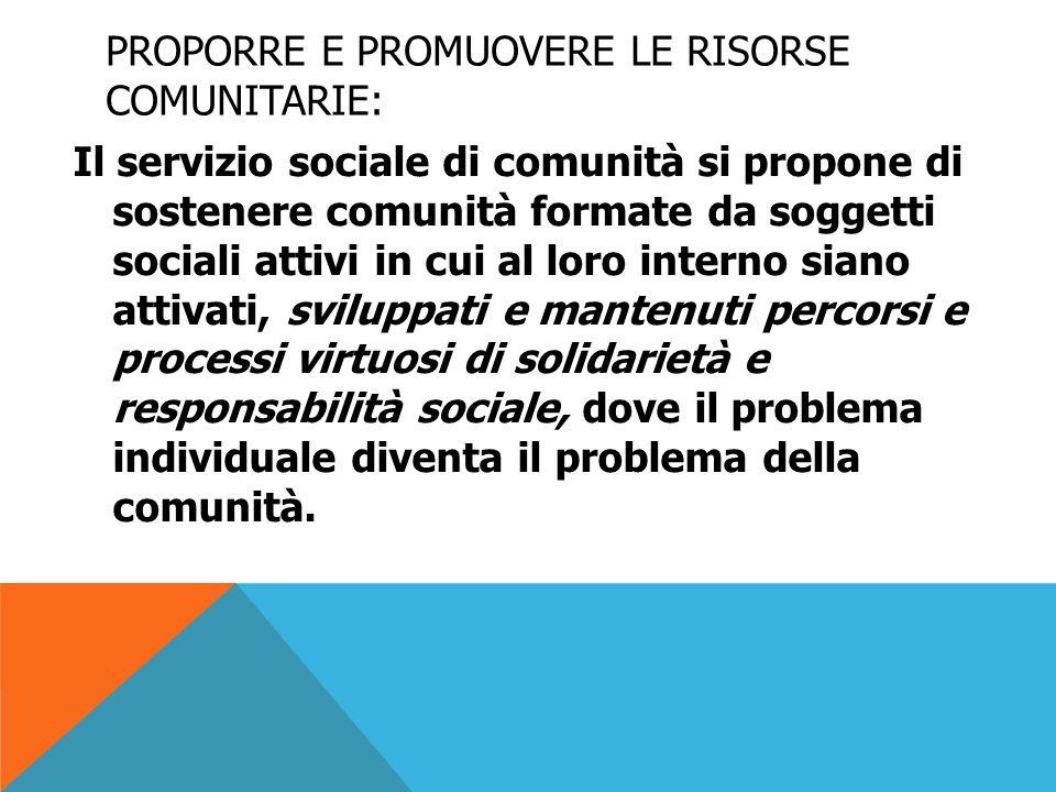 proporre e promuovere le risorse comunitarie: