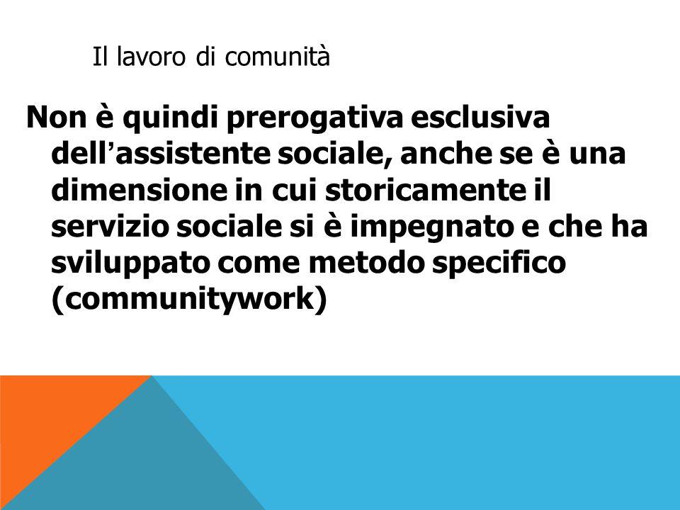 Il lavoro di comunità