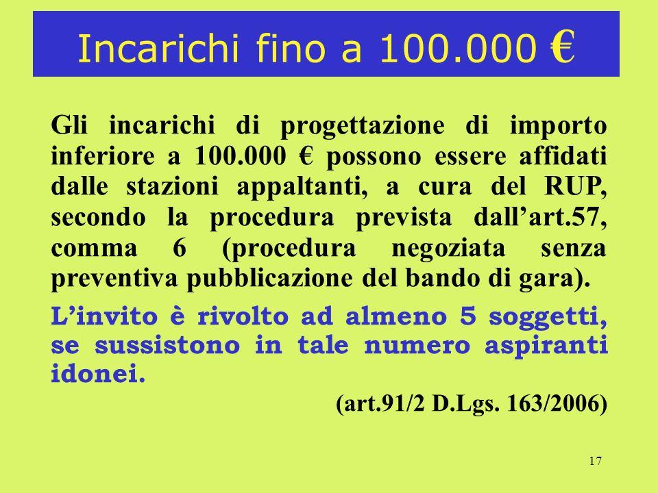 Incarichi fino a 100.000 €