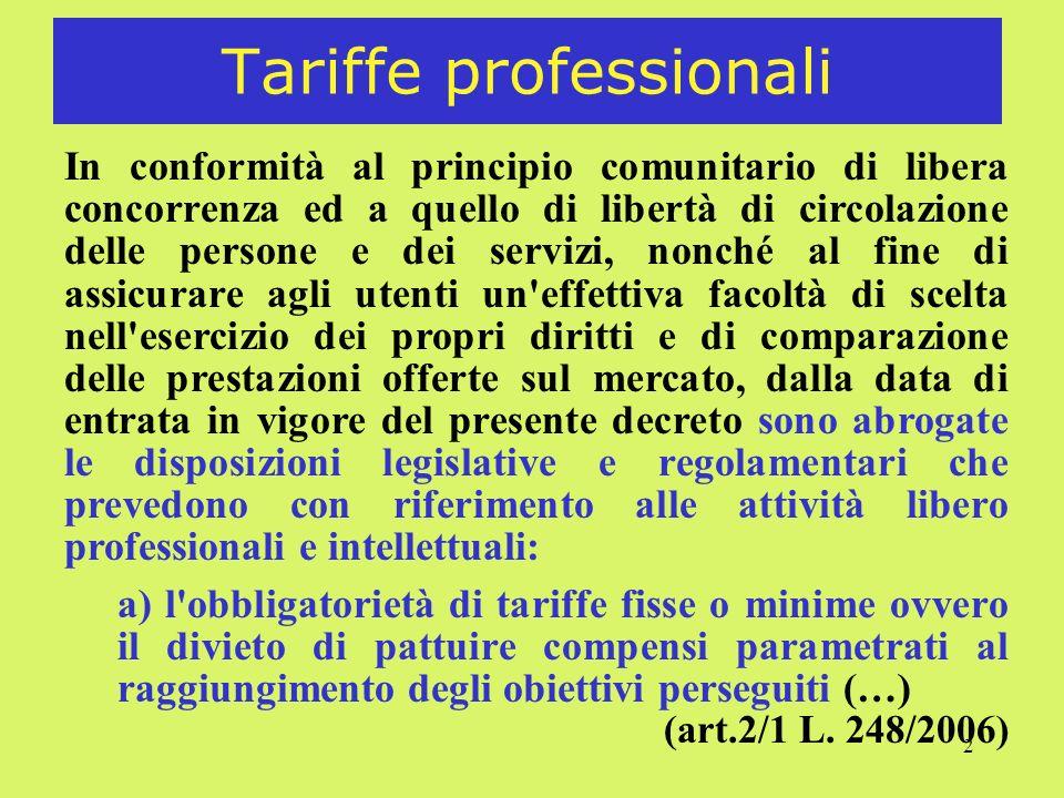 Tariffe professionali