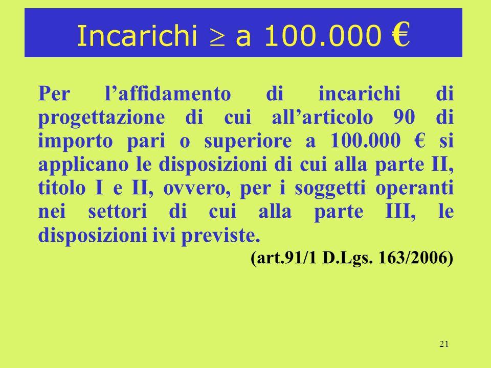Incarichi  a 100.000 €