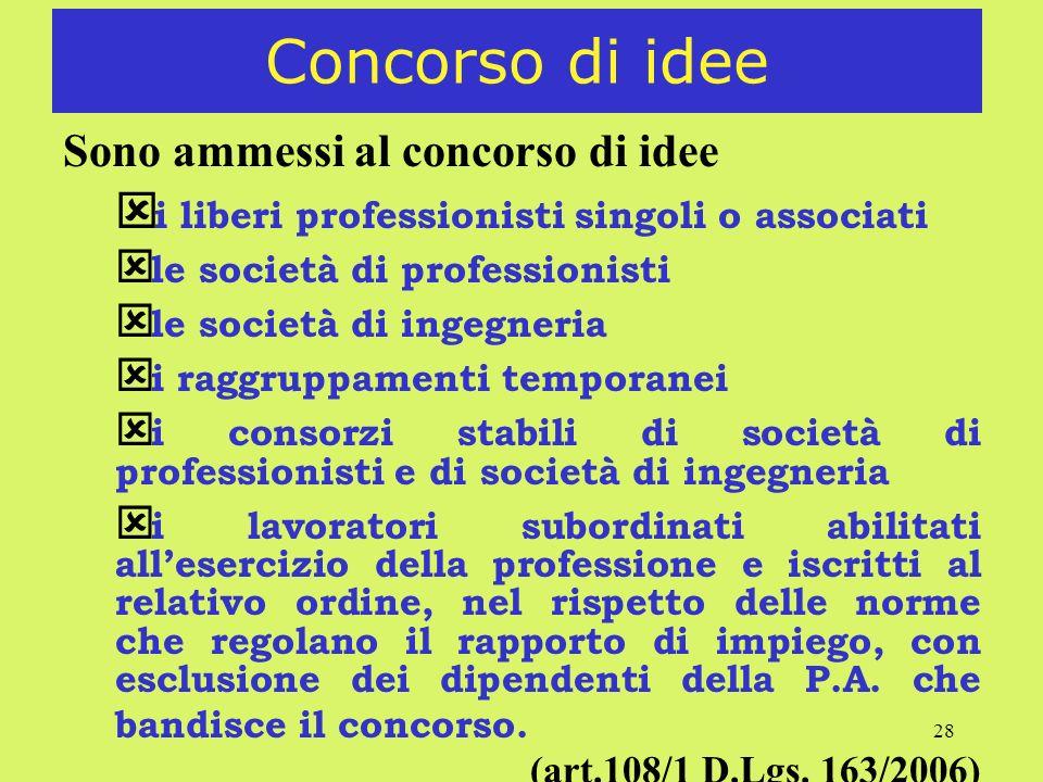Concorso di idee Sono ammessi al concorso di idee