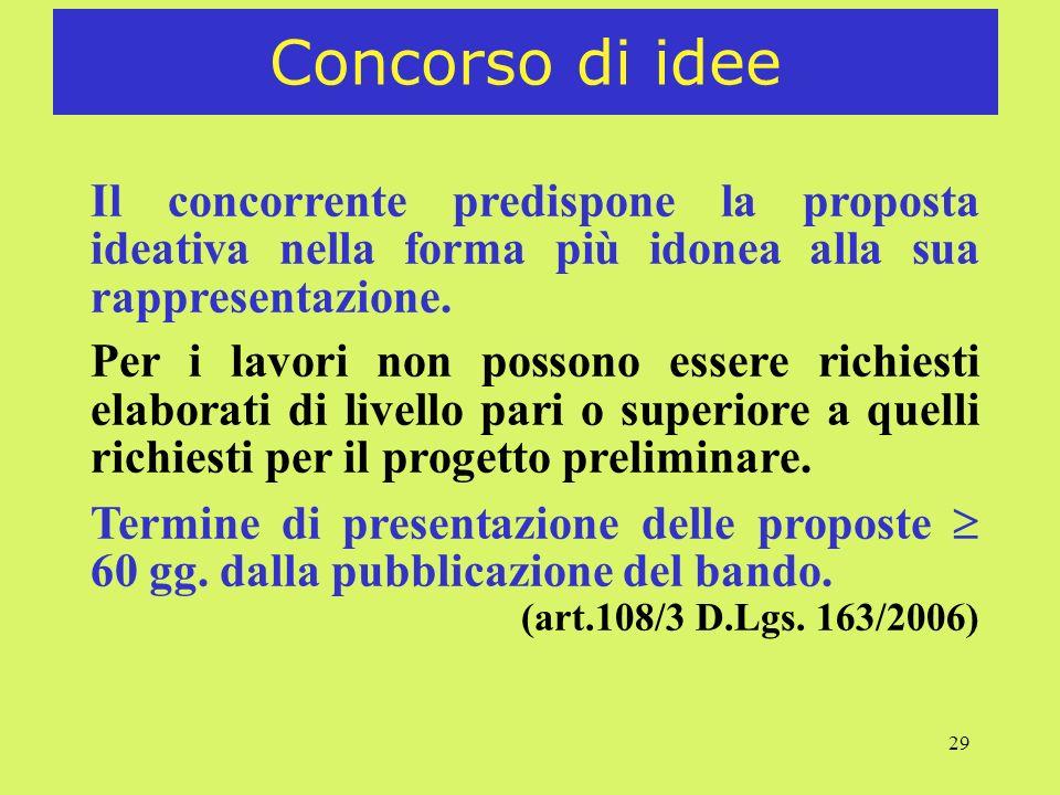 Concorso di ideeIl concorrente predispone la proposta ideativa nella forma più idonea alla sua rappresentazione.