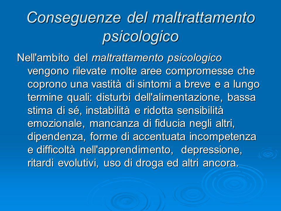 Conseguenze del maltrattamento psicologico